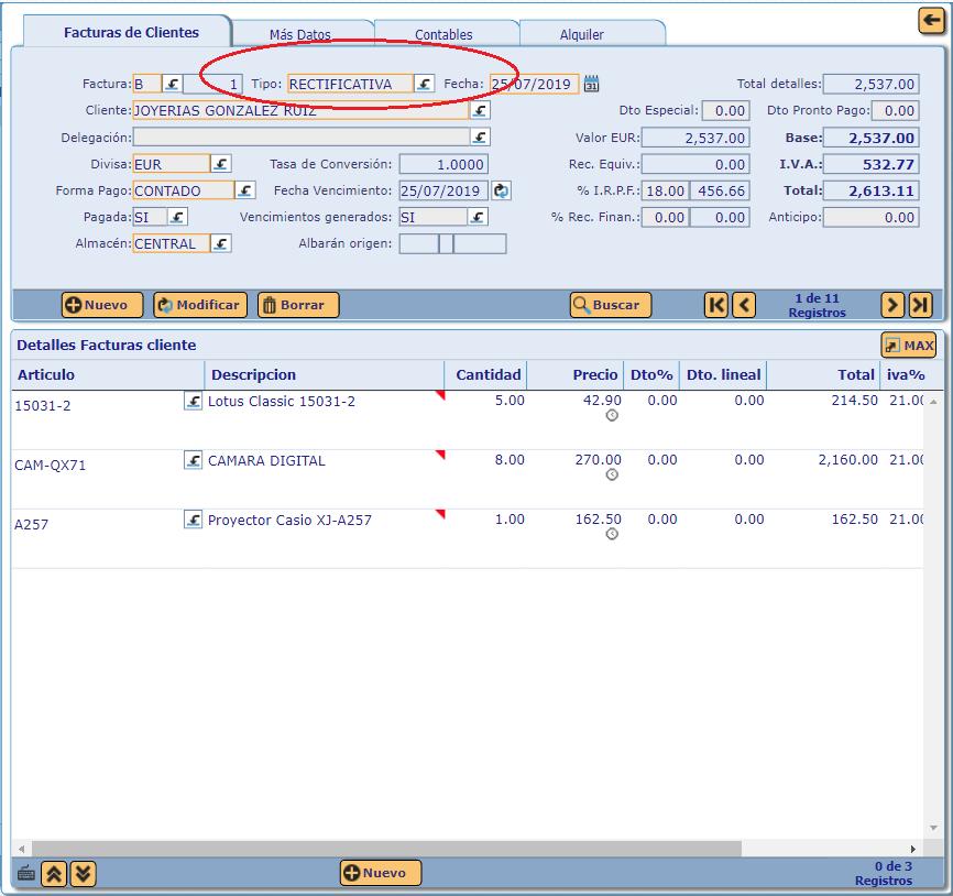 ejemplo factura rectificativa